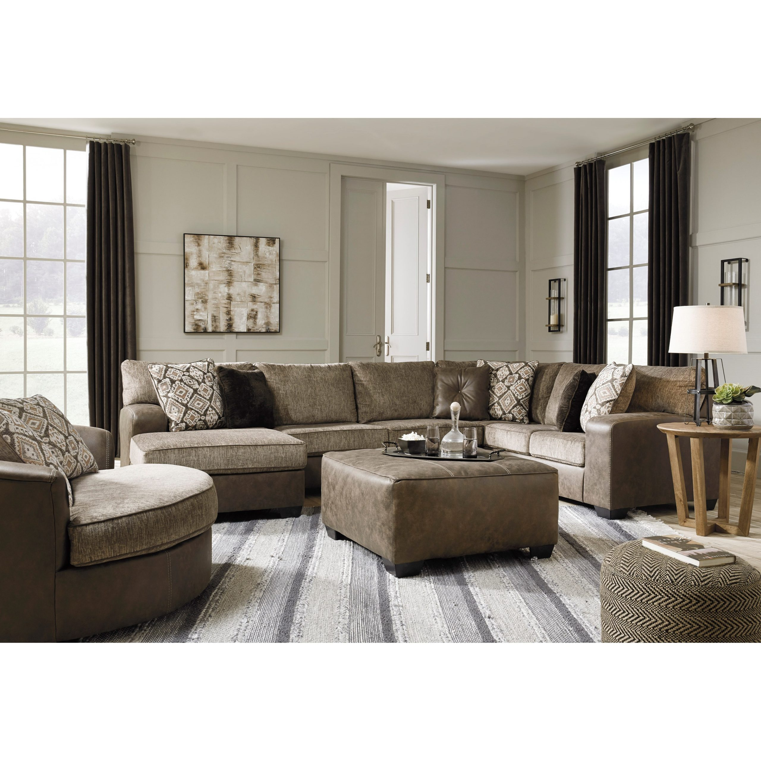 3Pc Miles Leather Sectional Sofas With Chaise Within Newest Benchcraft Abalone Brown Faux Leather/Fabric 3 Piece (View 15 of 25)