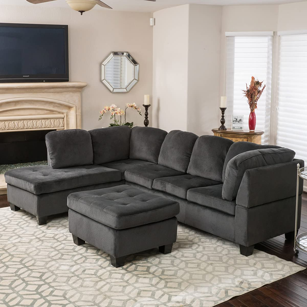 3Pc Polyfiber Sectional Sofas For Favorite Gotham 3 Piece Charcoal Fabric Sectional Sofa Set (View 6 of 25)