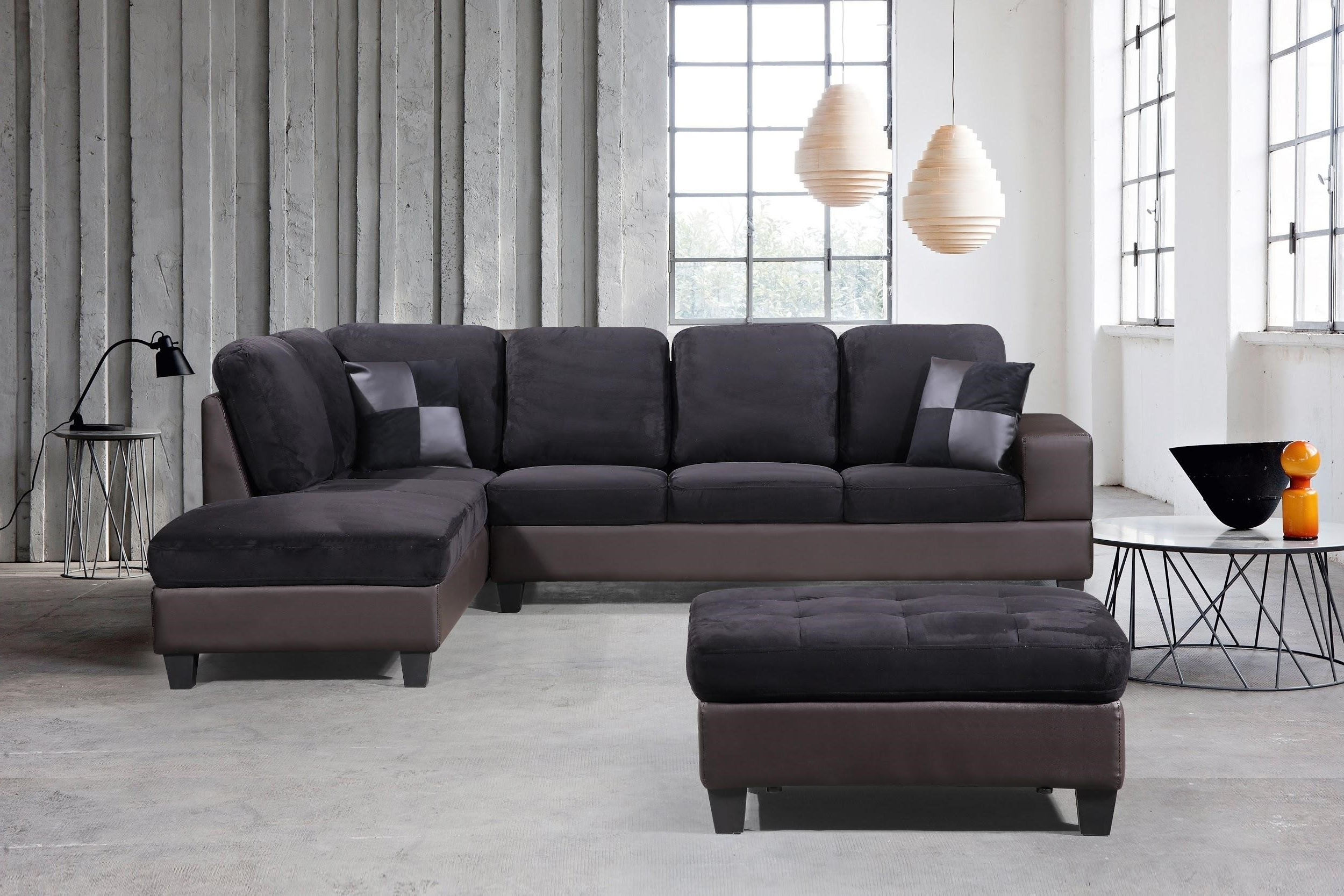 3Pc Polyfiber Sectional Sofas In Most Recently Released 3 Piece Modern Right Microfiber / Faux Leather Sectional (View 12 of 25)