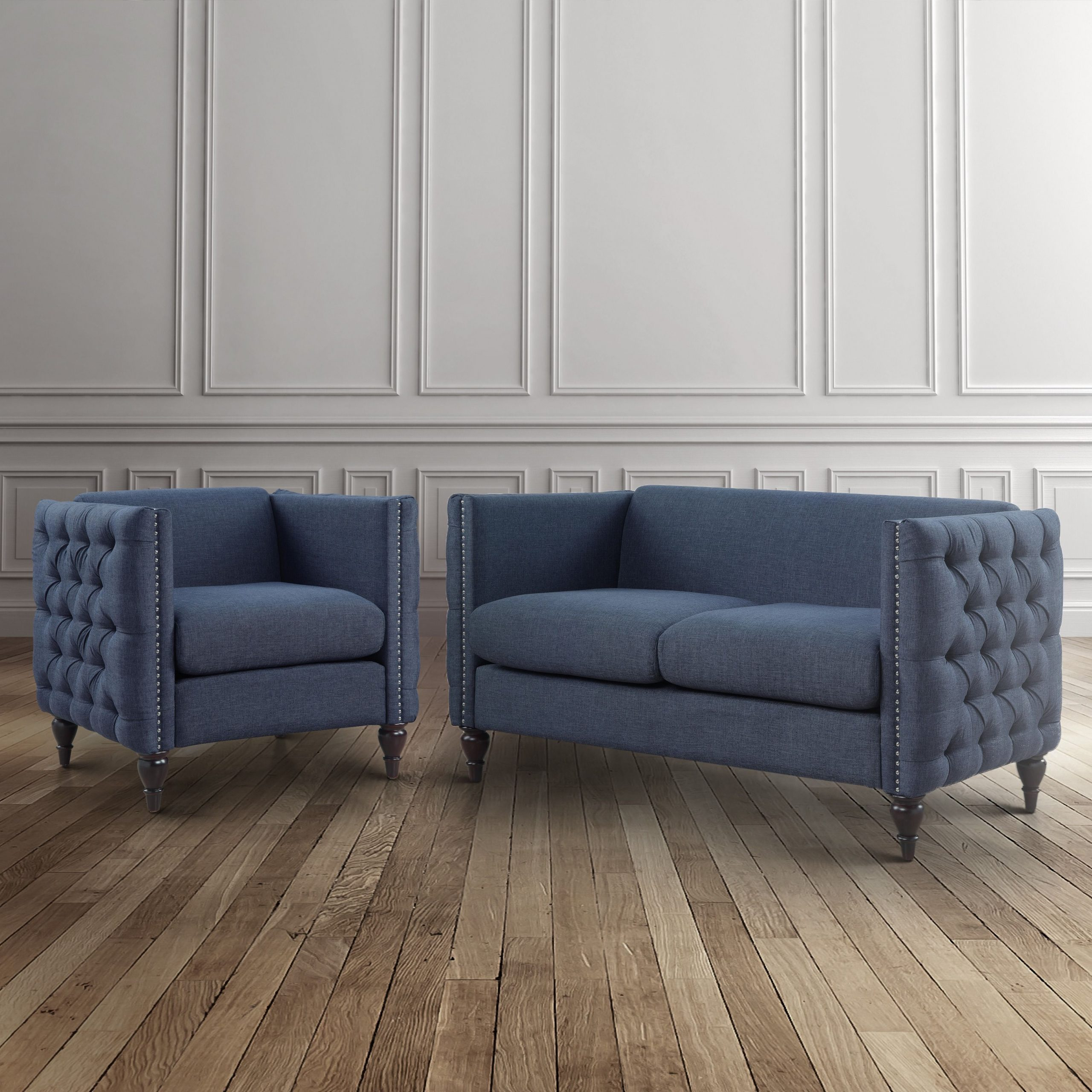 3Pc Polyfiber Sectional Sofas With Nail Head Trim Blue/Gray Regarding Widely Used Online Shopping – Bedding, Furniture, Electronics, Jewelry (View 13 of 25)