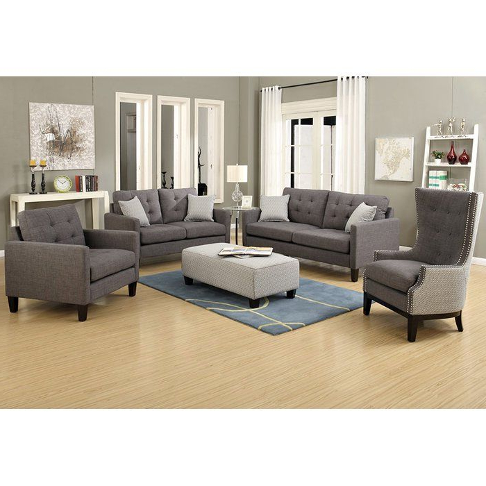 3Pc Polyfiber Sectional Sofas With Nail Head Trim Blue/Gray With Regard To Well Liked Authentic 1950S Lines Make This Draper Collection A (View 14 of 25)