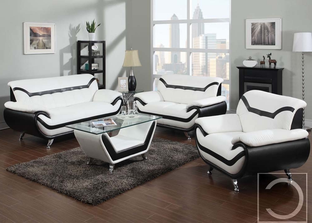 4Pc Beckett Contemporary Sectional Sofas And Ottoman Sets In Latest 4Pc Rozene Premium White Bonded Leather Sofa + Loveseat (View 8 of 25)