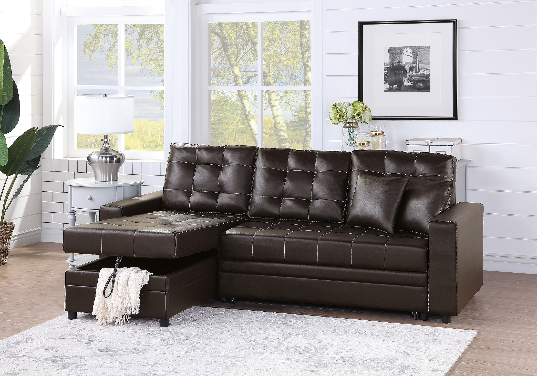 4Pc Crowningshield Contemporary Chaise Sectional Sofas Pertaining To Most Recent Convertible Sectional Sofa Set Living Room Furniture 2Pc (View 2 of 25)