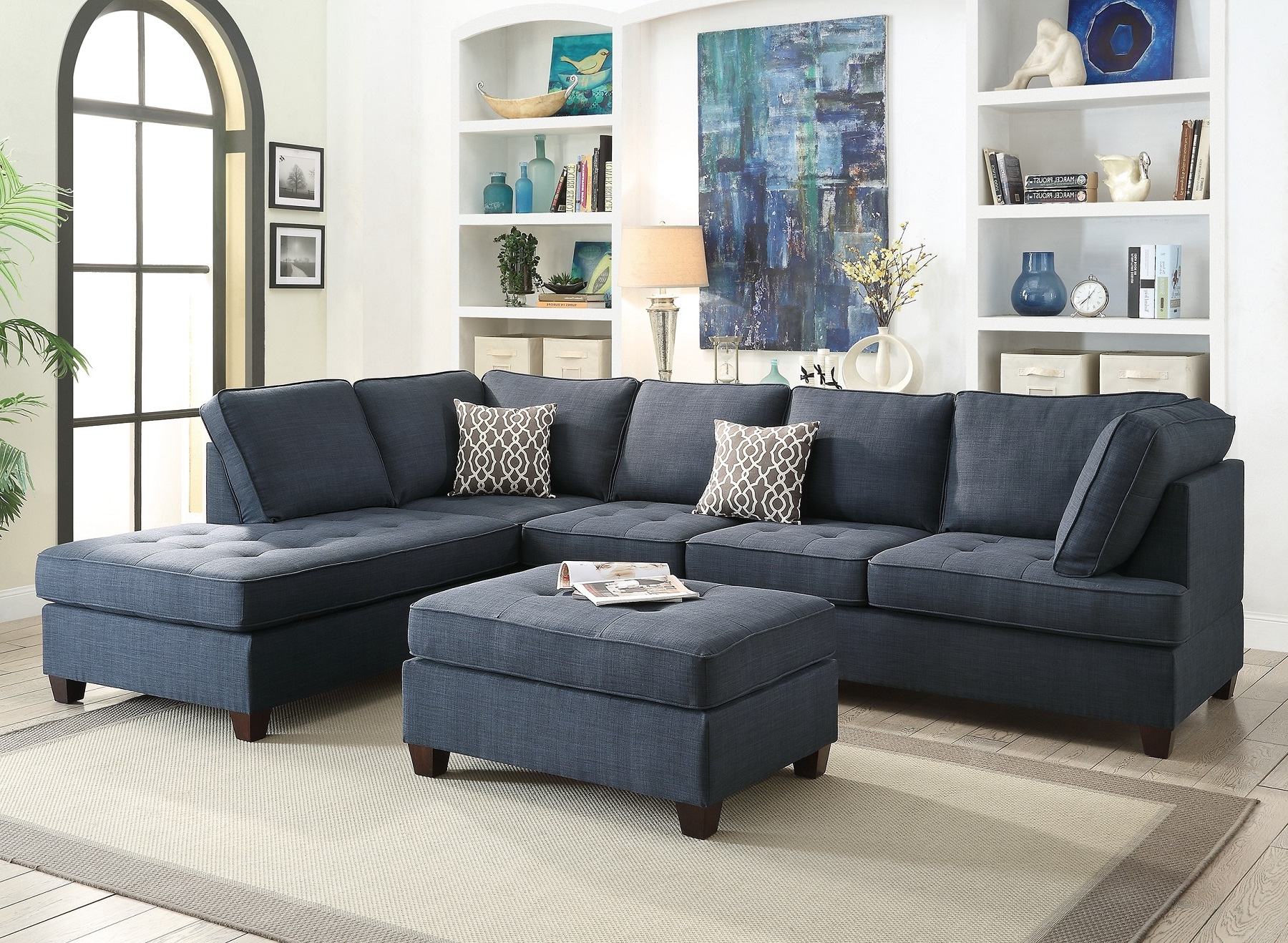 4Pc Crowningshield Contemporary Chaise Sectional Sofas With Famous Blue Sectional Sofa Chaise Poundex #F (View 11 of 25)
