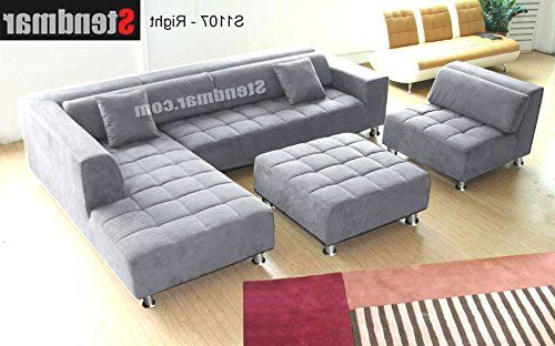 4Pc Modern Grey Microfiber Sectional Sofa Chaise Chair Throughout Favorite 4Pc Beckett Contemporary Sectional Sofas And Ottoman Sets (View 12 of 25)