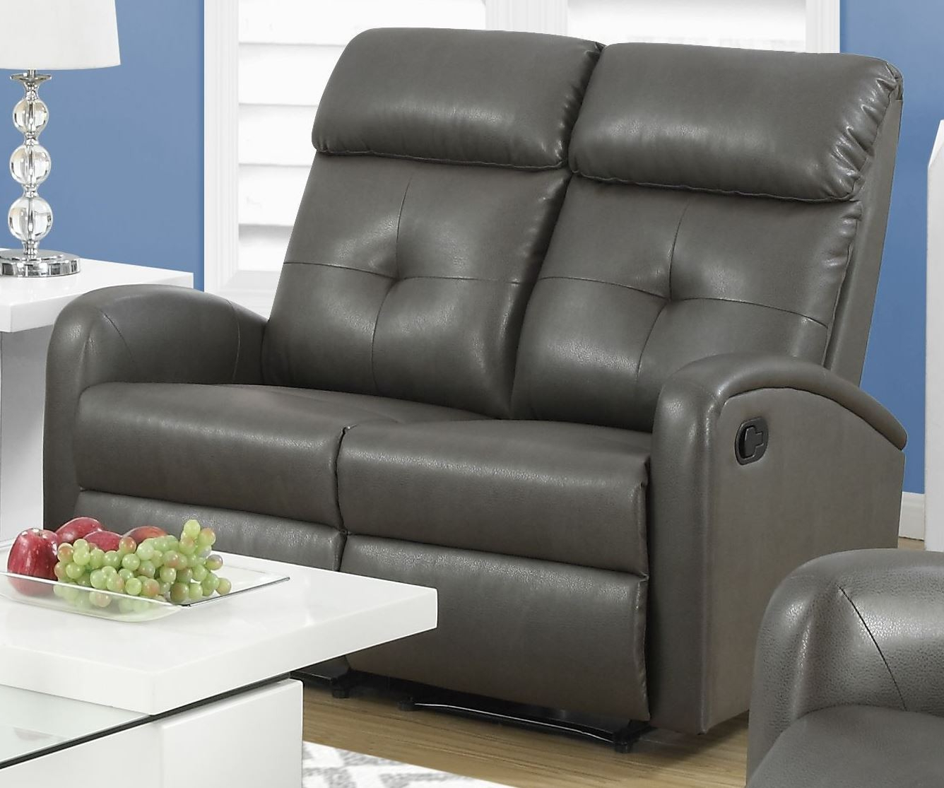 88Gy 2 Charcoal Gray Bonded Leather Reclining Loveseat Regarding Most Recent Gray Reclining Sofas (View 4 of 17)