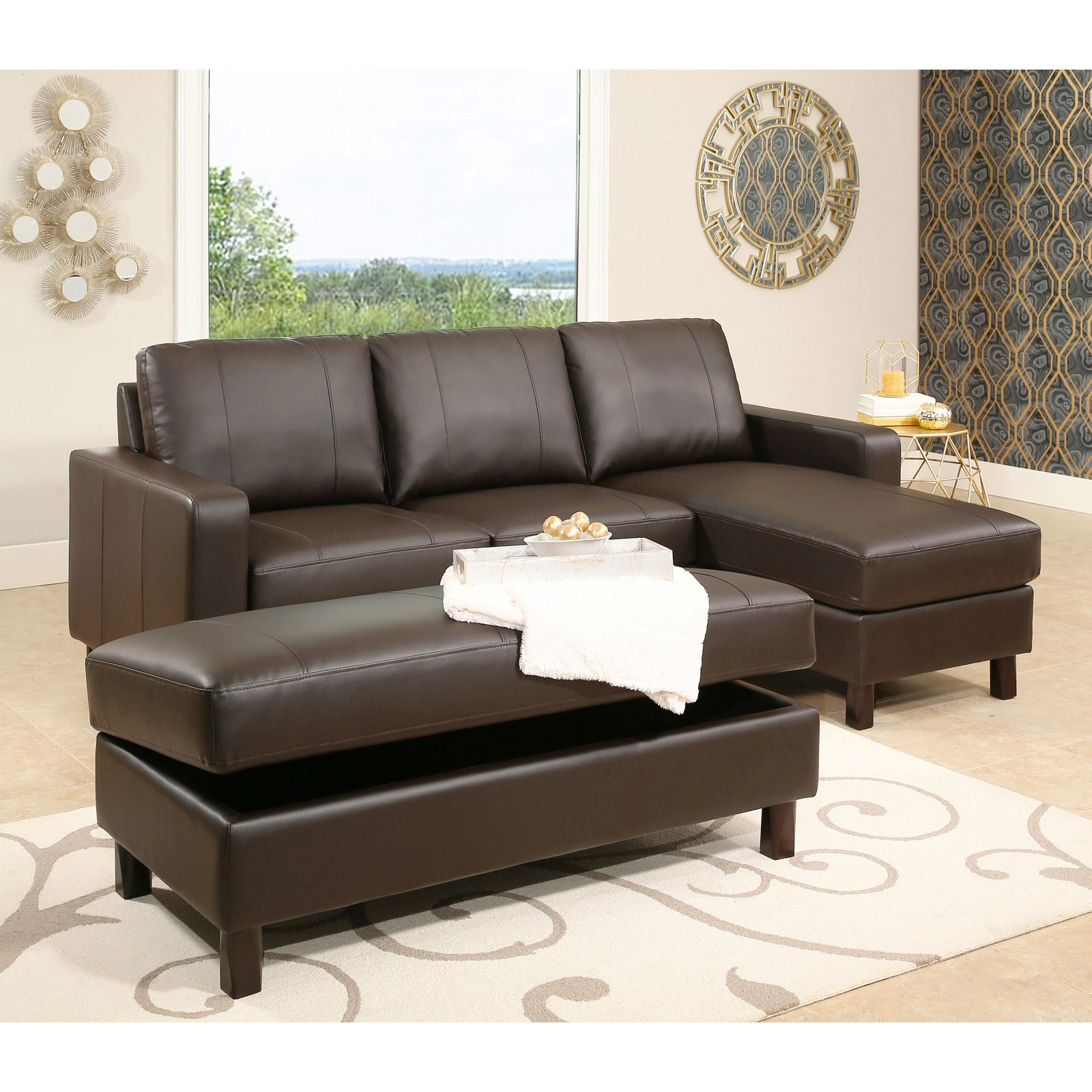 Abbyson Cedar Leather Reversible Sectional Sofa With Intended For 2017 Copenhagen Reversible Small Space Sectional Sofas With Storage (View 17 of 25)