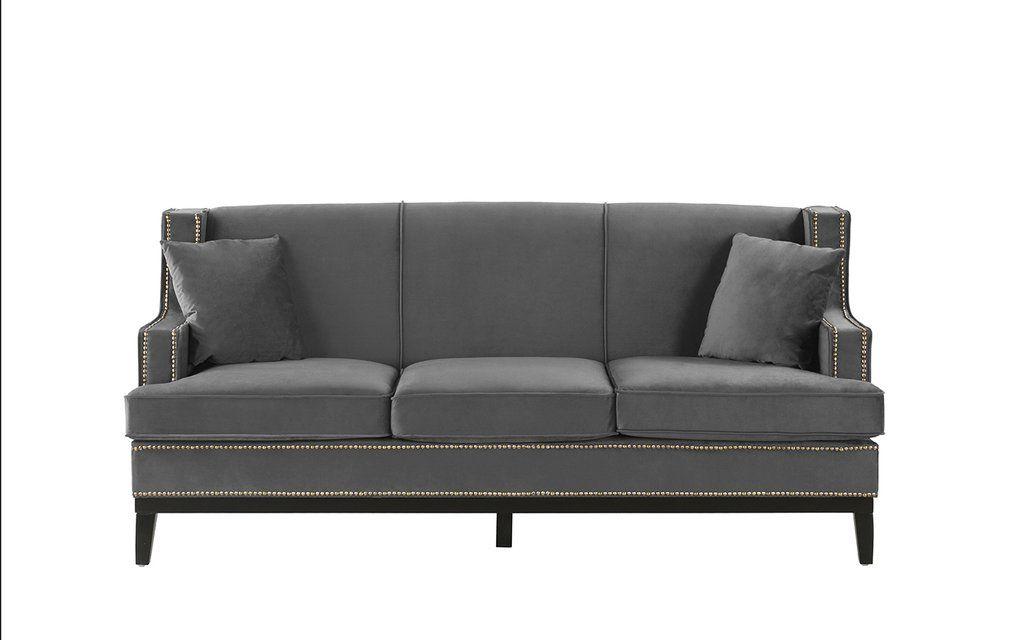 Abe Old Hollywood Nailhead Trim Velvet Sofa (View 4 of 25)