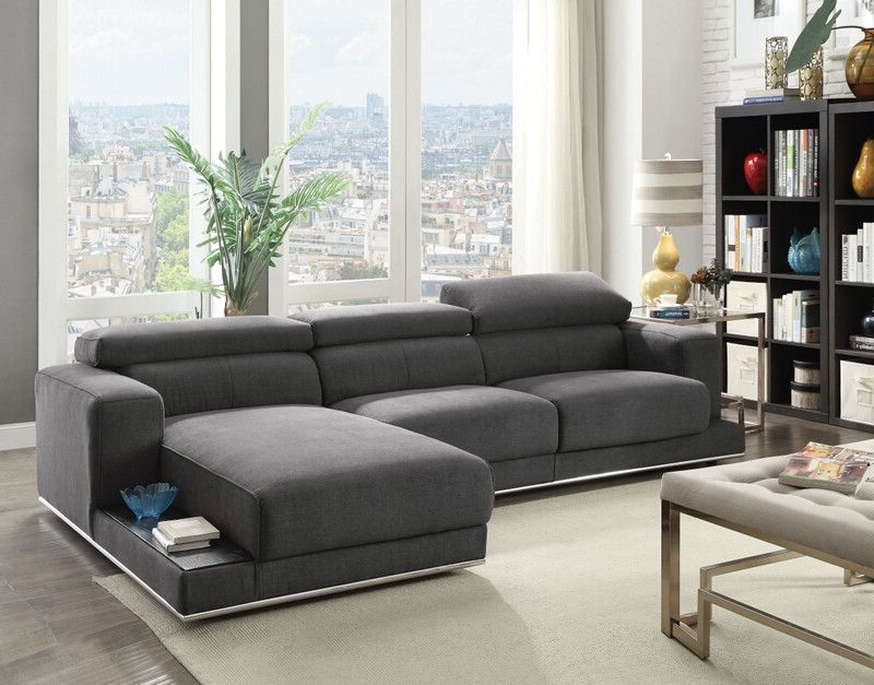 Acme 53720 23 2 Pc Alwin Dark Gray Fabric Modular With Popular 2Pc Burland Contemporary Chaise Sectional Sofas (View 20 of 25)