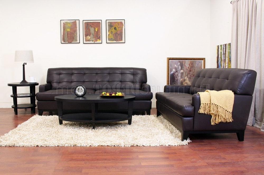 Adair Sofa Set In Brown Bonded Leatherwholesale Interiors For Well Known Bonded Leather All In One Sectional Sofas With Ottoman And 2 Pillows Brown (View 4 of 25)