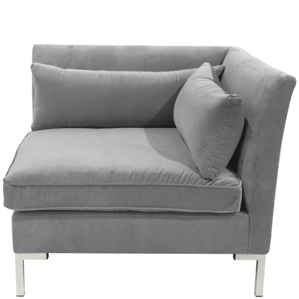 Alexis Corner Chair With Silver Metal Y Legs Gray Velvet Within 2018 4Pc Alexis Sectional Sofas With Silver Metal Y Legs (View 14 of 25)