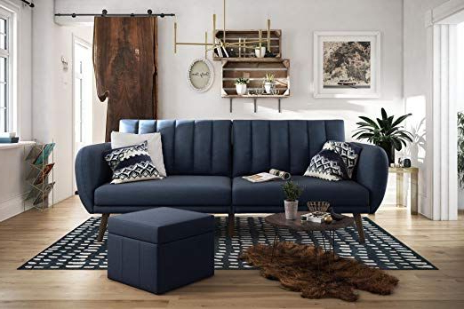 Amazon: Novogratz Brittany Sofa Futon – Navy Linen Pertaining To Most Current Brittany Sectional Futon Sofas (View 8 of 25)