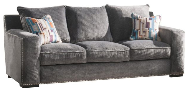 Anderson Contemporary Grey Chenille Sofa With Nailhead Regarding Most Current Radcliff Nailhead Trim Sectional Sofas Gray (View 10 of 25)
