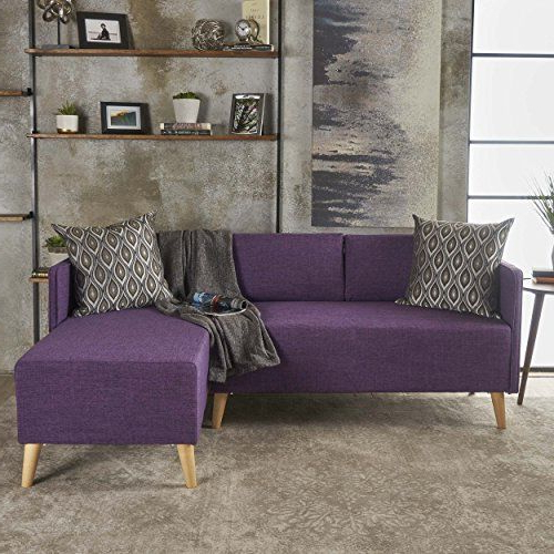 Andresen Mid Century Modern Muted Purple Fabric Chaise Pertaining To Preferred Alani Mid Century Modern Sectional Sofas With Chaise (View 16 of 25)