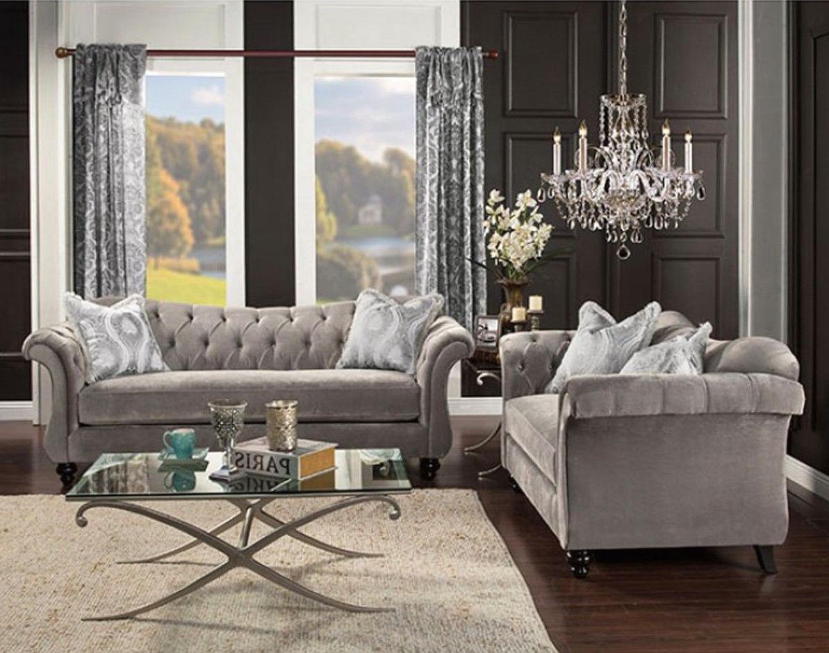 Antoinette Gray Velvet Chesterfield Inspired Crystal Pertaining To Trendy French Seamed Sectional Sofas In Velvet (View 22 of 25)