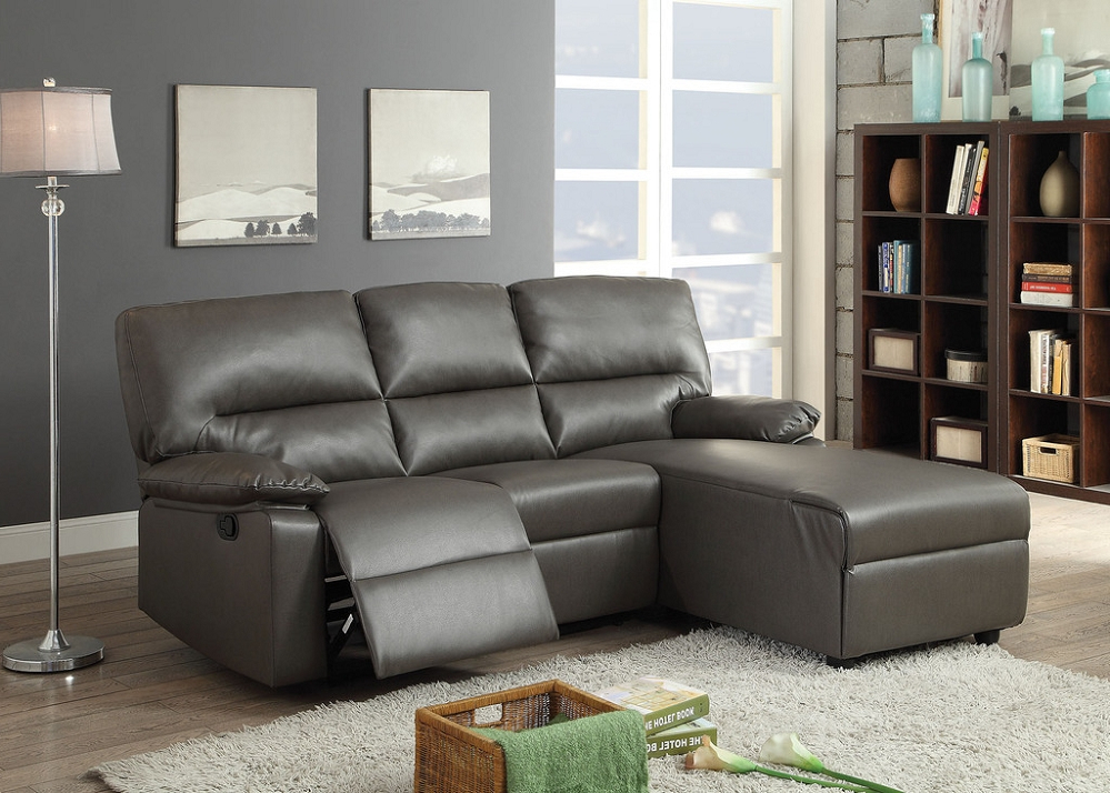 Artha Gray Bonded Leather Motion Sectional Sofa Chaise With Regard To Fashionable Noa Sectional Sofas With Ottoman Gray (View 17 of 25)
