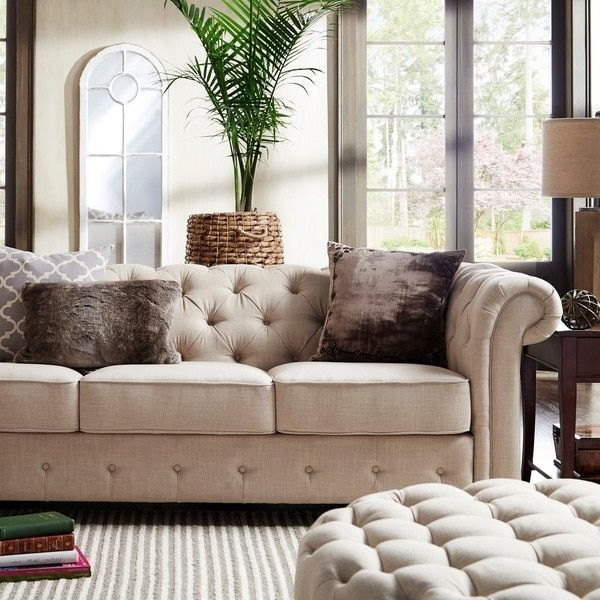 Artisan Beige Sofas In Famous Knightsbridge Beige Fabric Button Tufted Chesterfield Sofa (View 14 of 15)