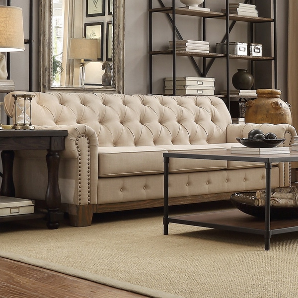 Artisan Beige Sofas Within Well Known Shop Greenwich Tufted Scroll Arm Nailhead Beige (View 11 of 15)