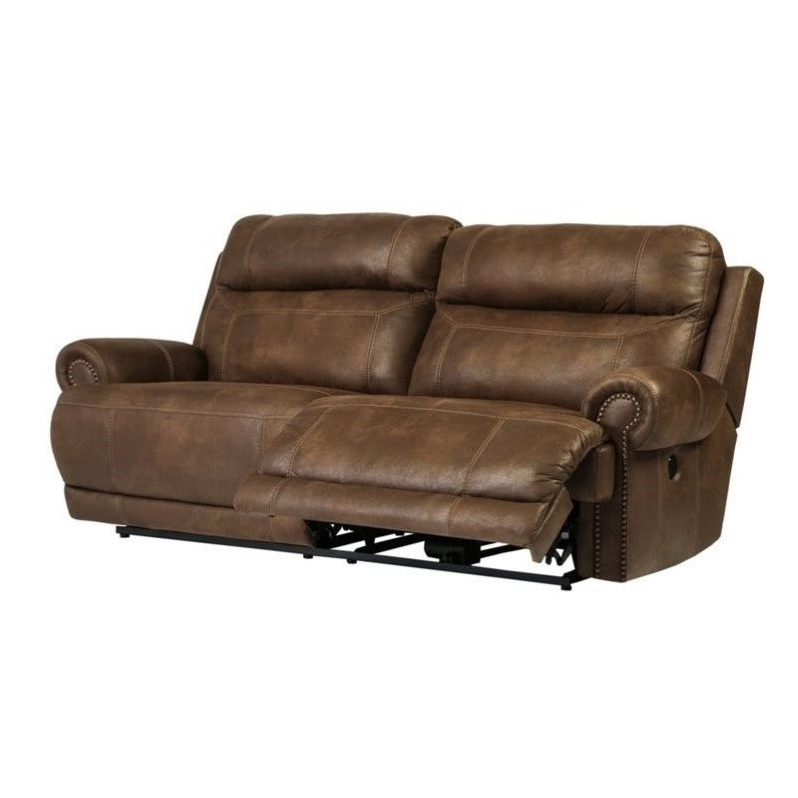 Ashley Austere 2 Seat Faux Leather Power Reclining Sofa In Throughout Most Recently Released Expedition Brown Power Reclining Sofas (View 14 of 15)