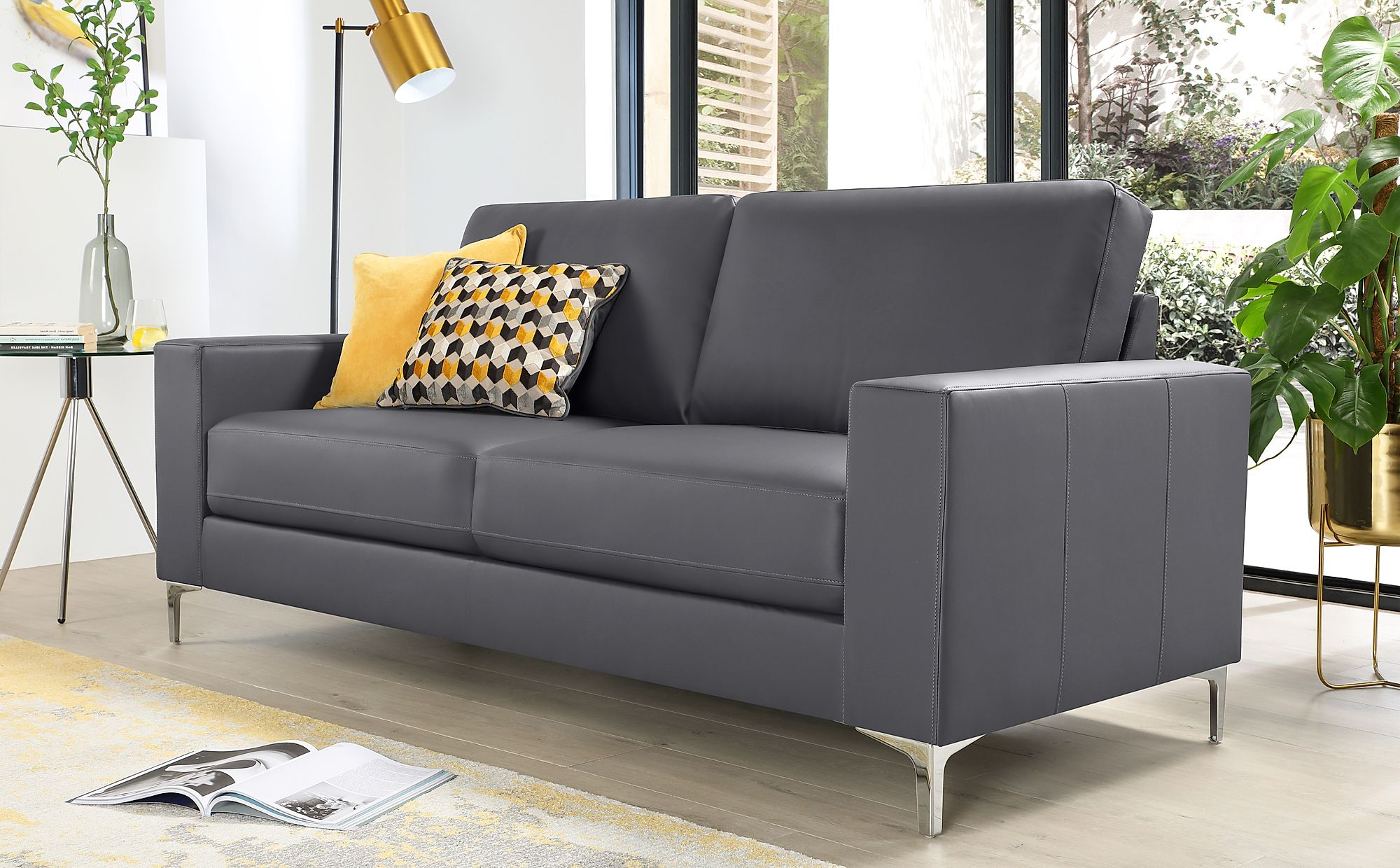 Baltimore Grey Leather 3 Seater Sofa (View 15 of 15)