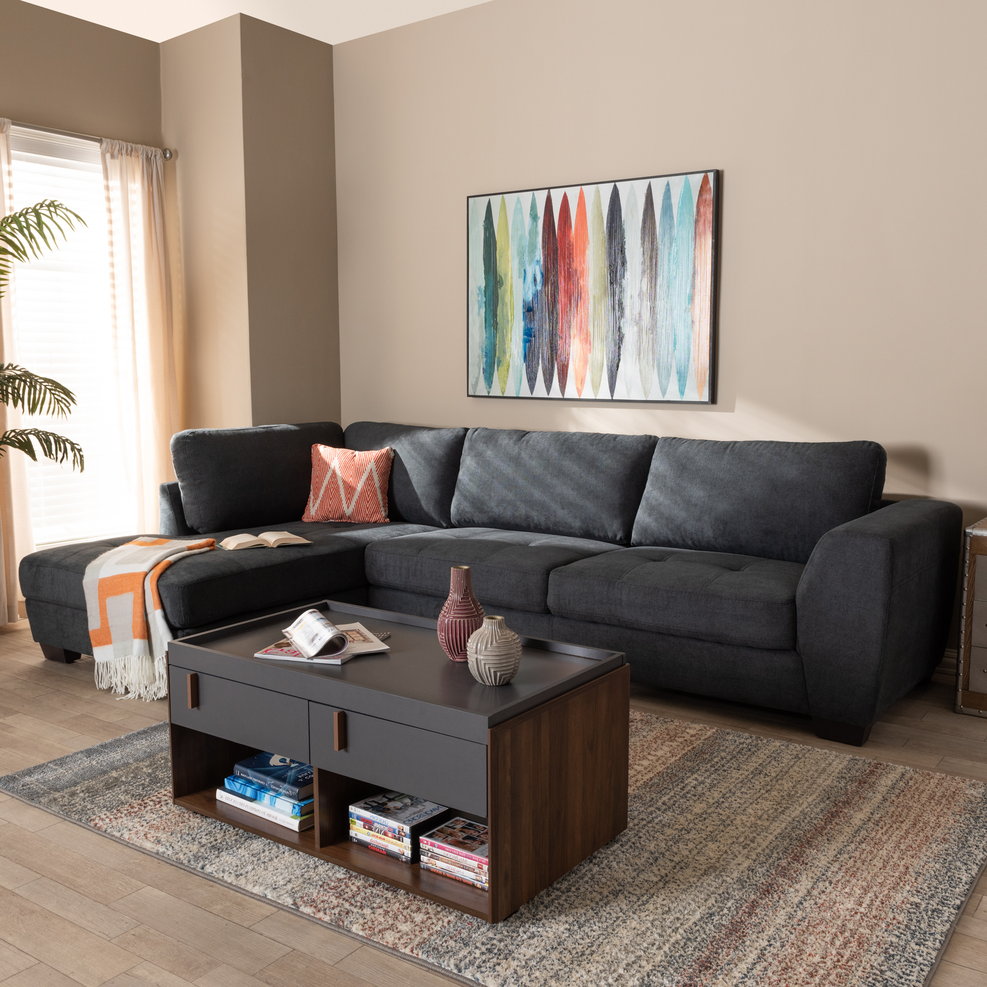 Baxton Studio Petra Modern And Contemporary Charcoal Intended For Widely Used Monet Right Facing Sectional Sofas (View 4 of 25)