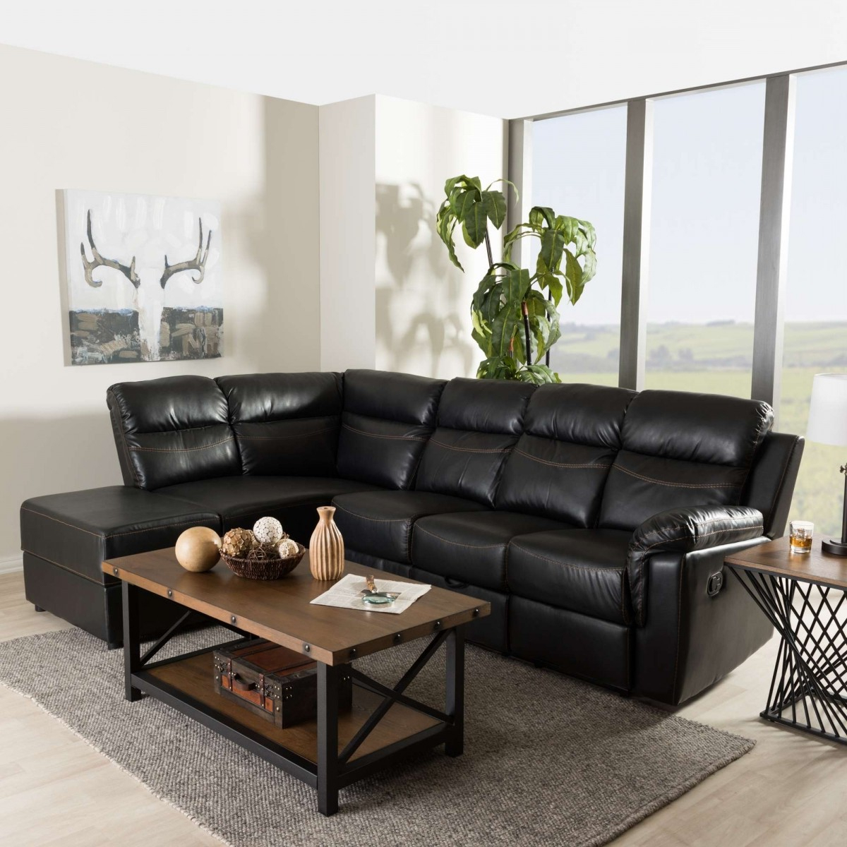 Baxton Studio Roland Contemporary Black Faux Leather 2 With Best And Newest 2Pc Connel Modern Chaise Sectional Sofas Black (View 2 of 25)