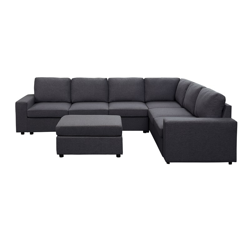 Bayside Modular Sectional Sofa With Ottoman In Dark Gray With Most Current Dream Navy 2 Piece Modular Sofas (View 2 of 15)