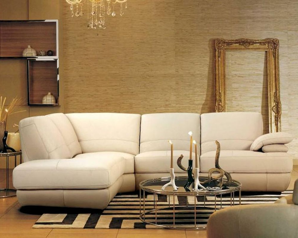 Beige Sofas In Fashionable Contemporary Beige Leather Sectional Sofa 44L208  (View 1 of 15)