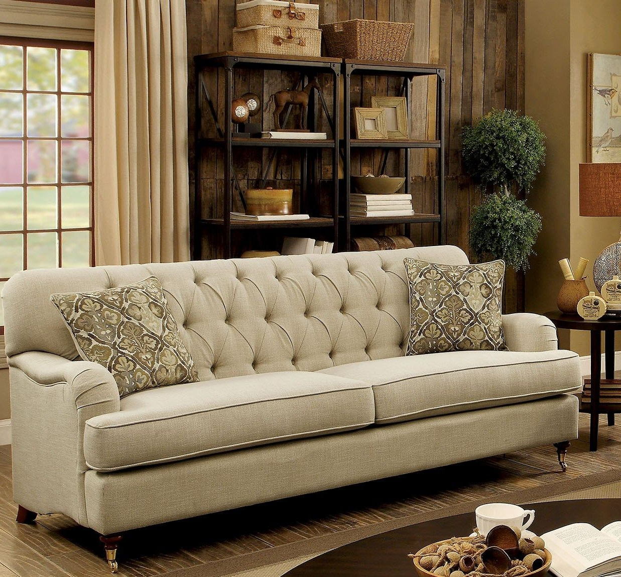 Beige Sofas In Popular Laney Beige Traditional Sofa (View 5 of 15)