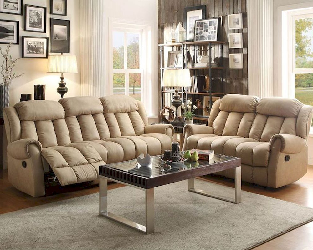 Beige Sofas Intended For Most Recent Reclining Sofa Set Mankato In Beigehomelegance El (View 9 of 15)