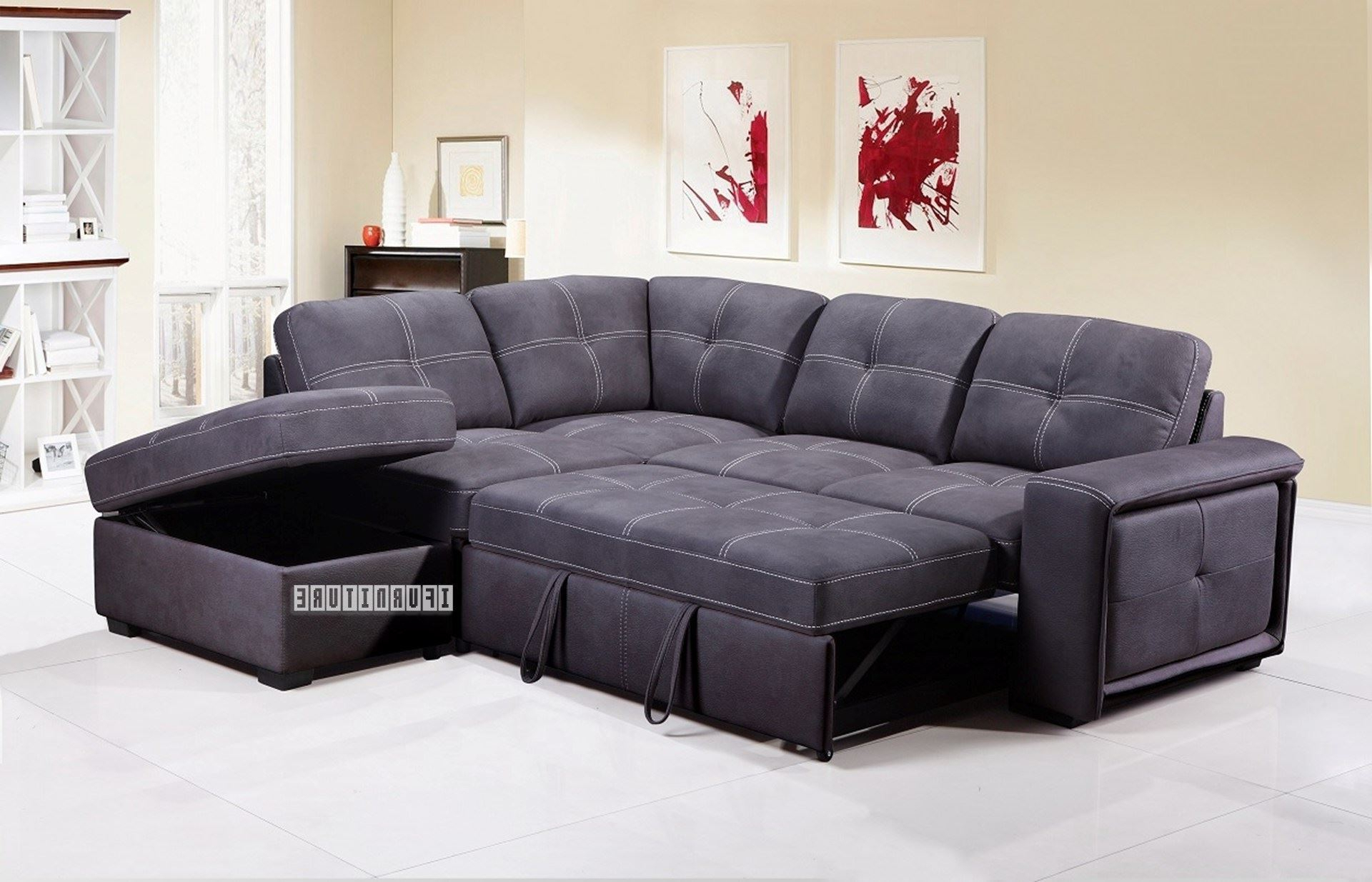 Bellini Sectional Sofa Bed With Storage *Grey Inside Favorite Celine Sectional Futon Sofas With Storage Reclining Couch (View 2 of 25)
