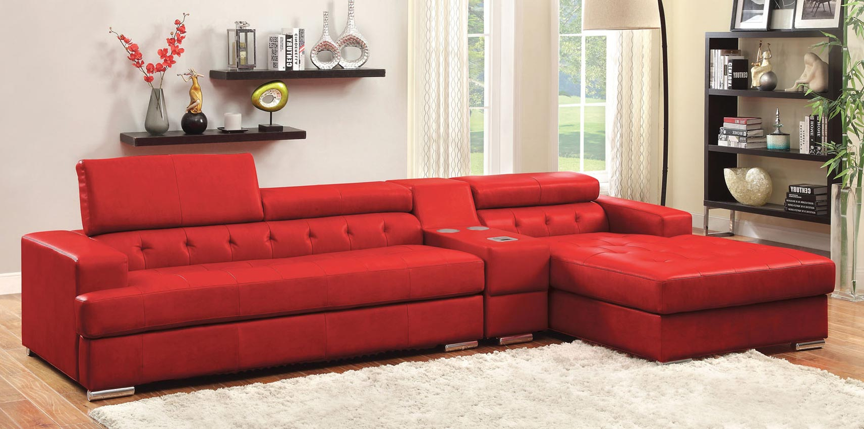 Best And Newest 3 Pcs Red Leather Sofa Set With Console Throughout Red Sofas (View 4 of 15)