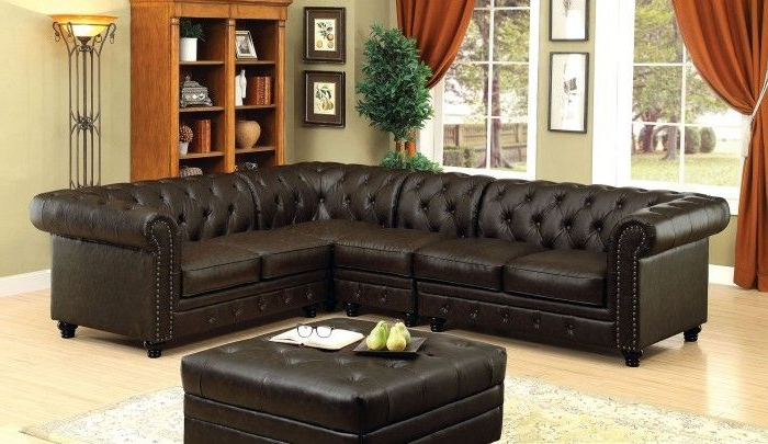 Best And Newest 3Pc Faux Leather Sectional Sofas Brown Pertaining To Cm6270Br 4Pc 4 Pc Stanford Ii Brown Faux Leather Sectional (View 6 of 25)