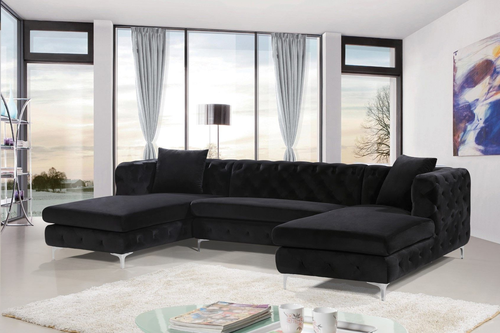 Best And Newest 3Pc French Seamed Sectional Sofas Velvet Black With Gail Deep Tufted Black Velvet Double Chaise Sectional Sofa (View 7 of 25)