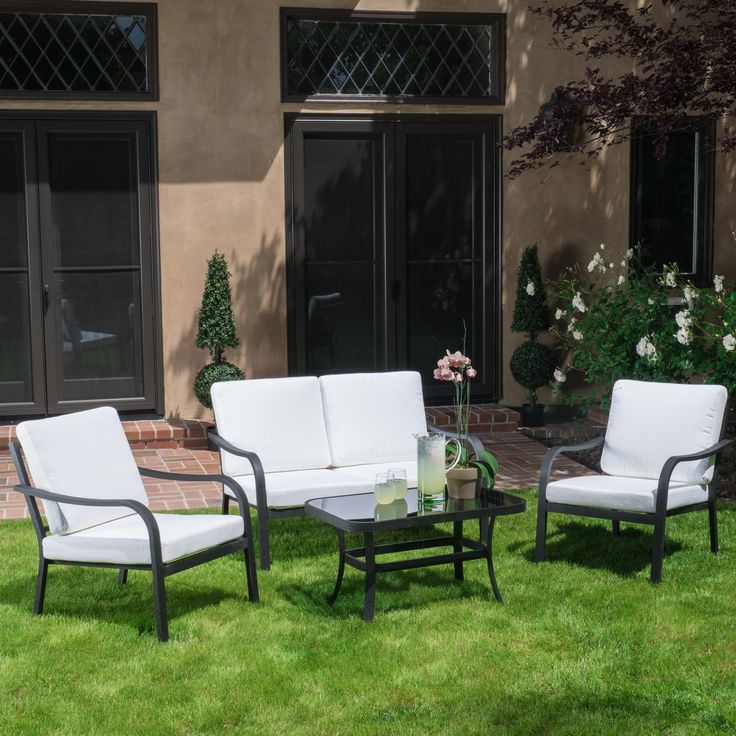 Best And Newest Langston Outdoor 4Pc Grey & Ivory Seating Set (View 20 of 25)