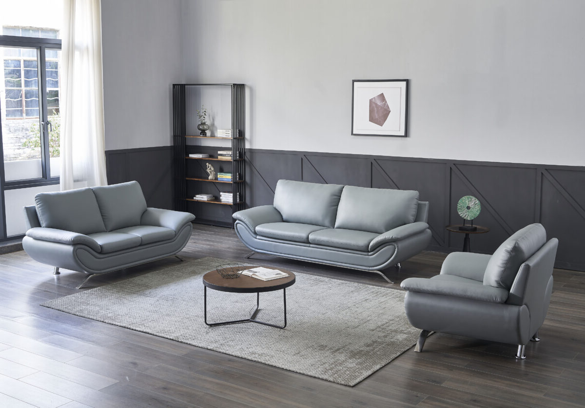 Best And Newest Ludovic Contemporary Sofas Light Gray For V Dallas Modern Leather Sofa Set (Grey) (View 5 of 25)