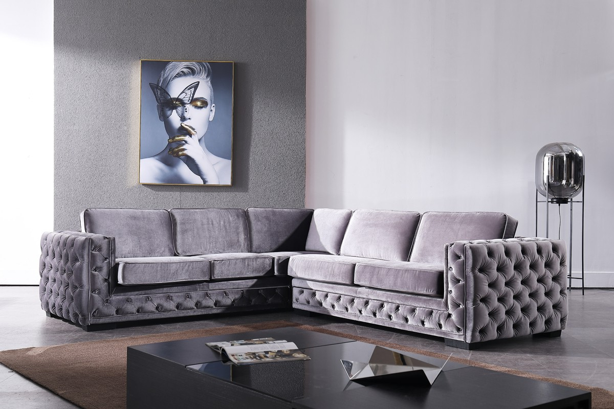 Best And Newest Mireille Modern And Contemporary Fabric Upholstered Sectional Sofas Within Divani Casa Jean Modern Grey Velvet Sectional Sofa (View 22 of 25)