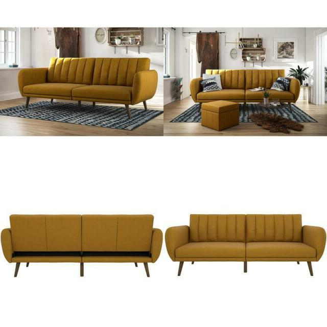Best And Newest Novogratz Brittany Sofa Futon, Premium Linen Upholstery Within Brittany Sectional Futon Sofas (View 14 of 25)