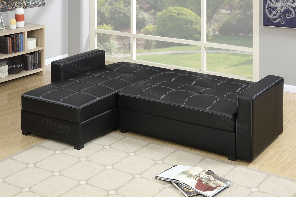 Black Faux Leather Storage Sectional Sofa Bed In Fashionable Hartford Storage Sectional Futon Sofas (View 22 of 25)