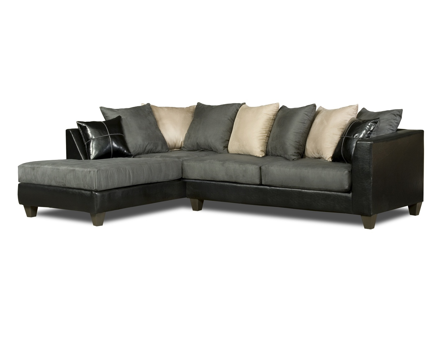 Black, Gray & White Sectional Sofa Loose Pillow Back 4184 Within Well Known Lyvia Pillowback Sofa Sectional Sofas (View 23 of 25)