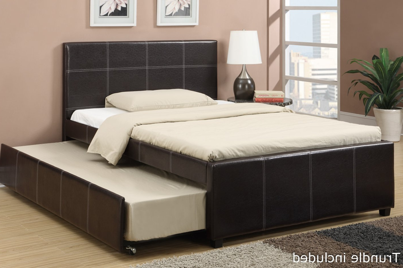 Black Leather Full Size Bed – Steal A Sofa Furniture With Well Known Felton Modern Style Pullout Sleeper Sofas Black (View 20 of 25)
