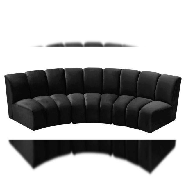 Black Velvet 638Black 3Pc Modular Sectional Sofa Infinity Intended For Popular 3Pc French Seamed Sectional Sofas Velvet Black (View 15 of 25)