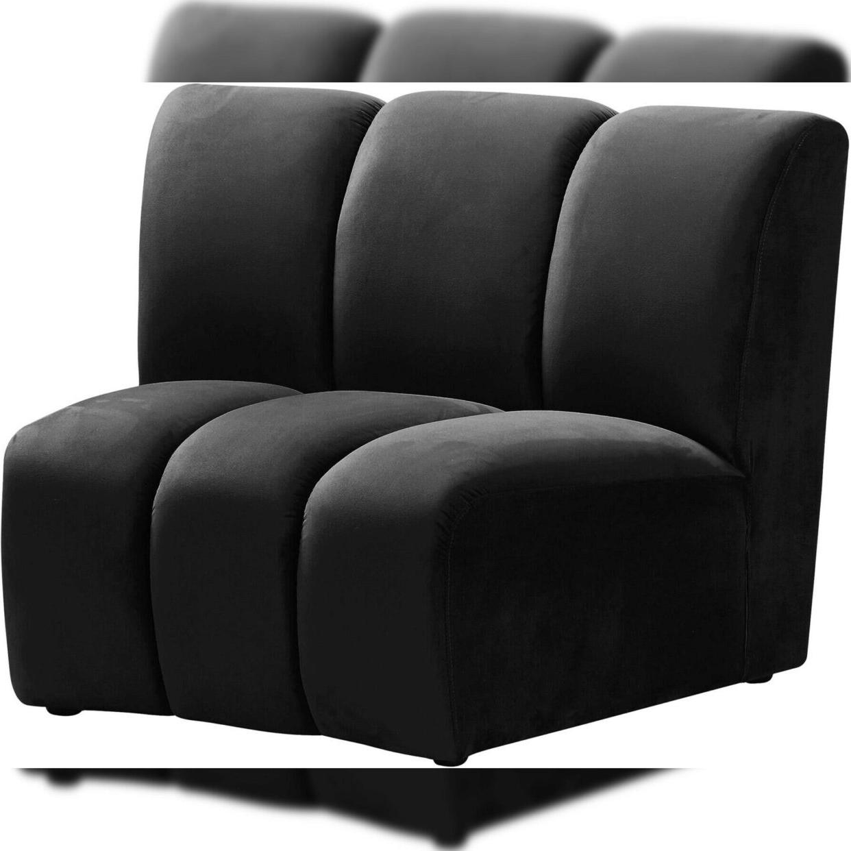 Black Velvet 638Black 3Pc Modular Sectional Sofa Infinity Regarding Most Recently Released 3Pc French Seamed Sectional Sofas Velvet Black (View 19 of 25)