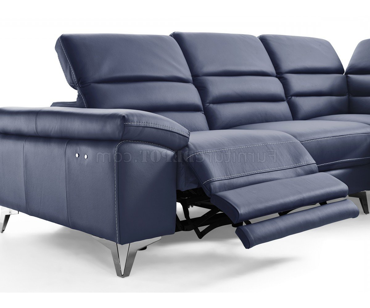 Bloutop Upholstered Sectional Sofas Intended For Well Liked Johnson Power Motion Sectional Sofa In Navy Leather (View 2 of 25)