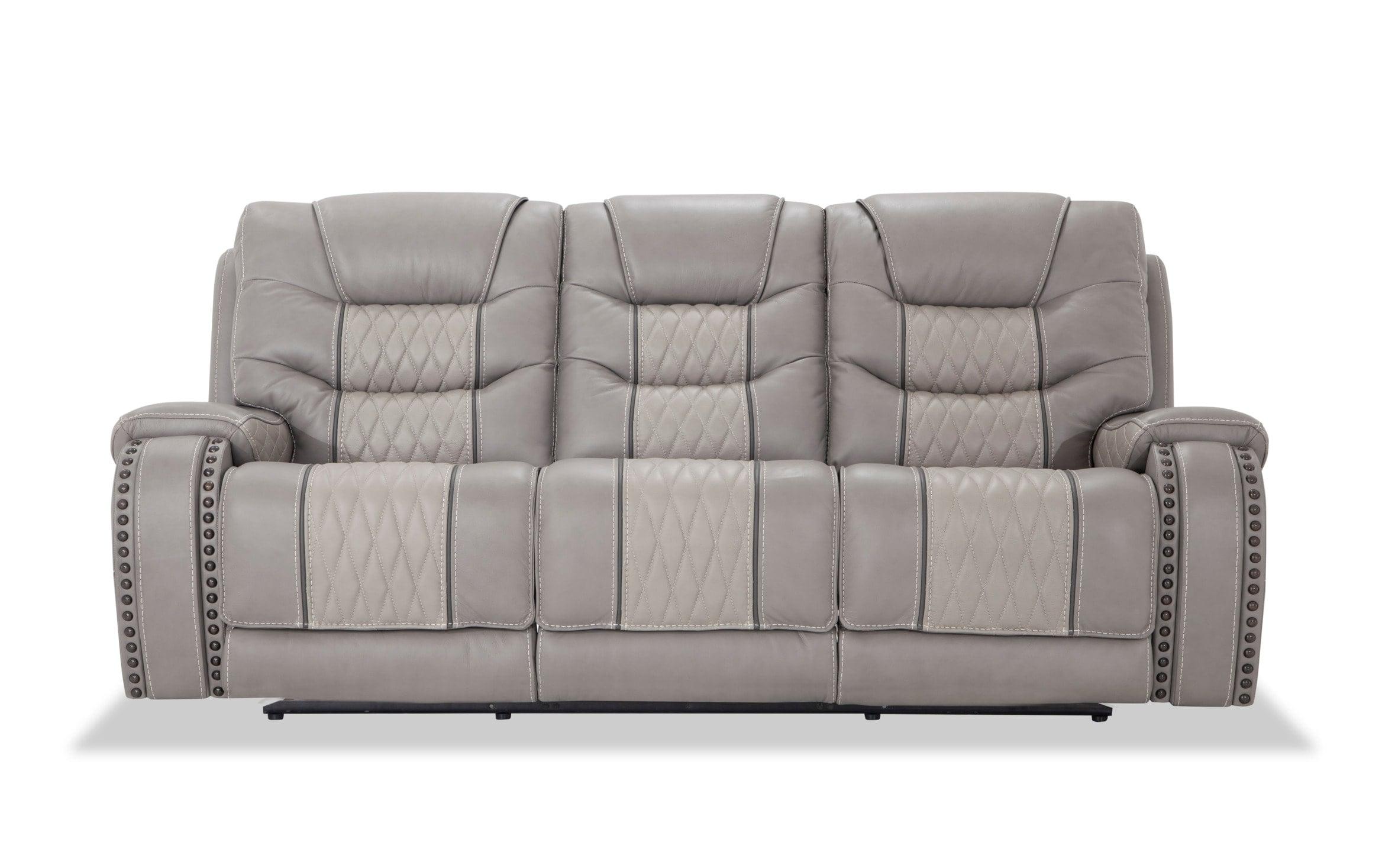 Bobs Furniture Leather Sofa : Trailblazer Gray Leather With Well Known Trailblazer Gray Leather Power Reclining Sofas (View 3 of 15)