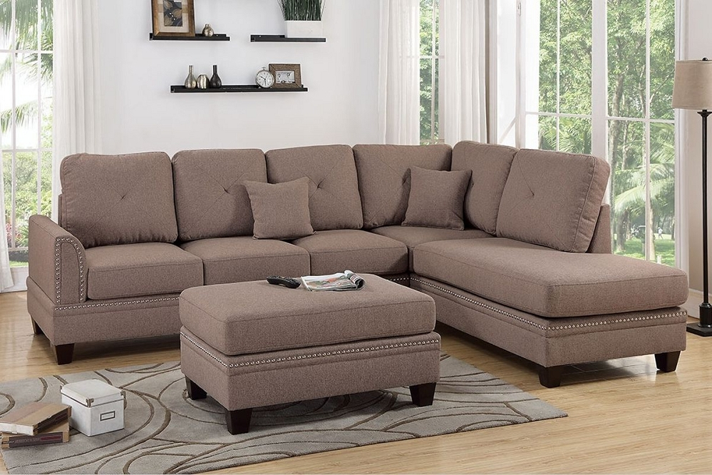Bonded Leather All In One Sectional Sofas With Ottoman And 2 Pillows Brown Inside Fashionable Coffee Polyfiber Reversible Chaise Sectional Sofa + Ottoman (View 1 of 25)
