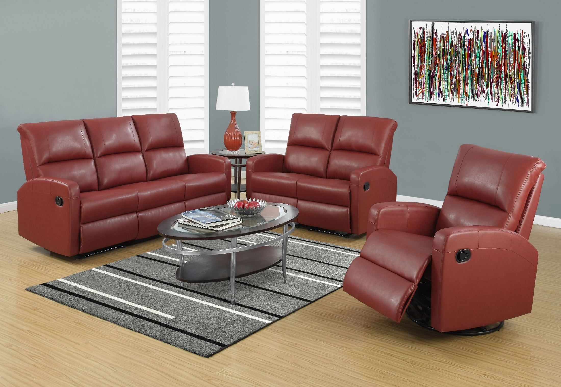 Bonded Leather All In One Sectional Sofas With Ottoman And 2 Pillows Brown Pertaining To Most Popular Red Bonded Leather Reclining Sofa From Monarch (View 9 of 25)