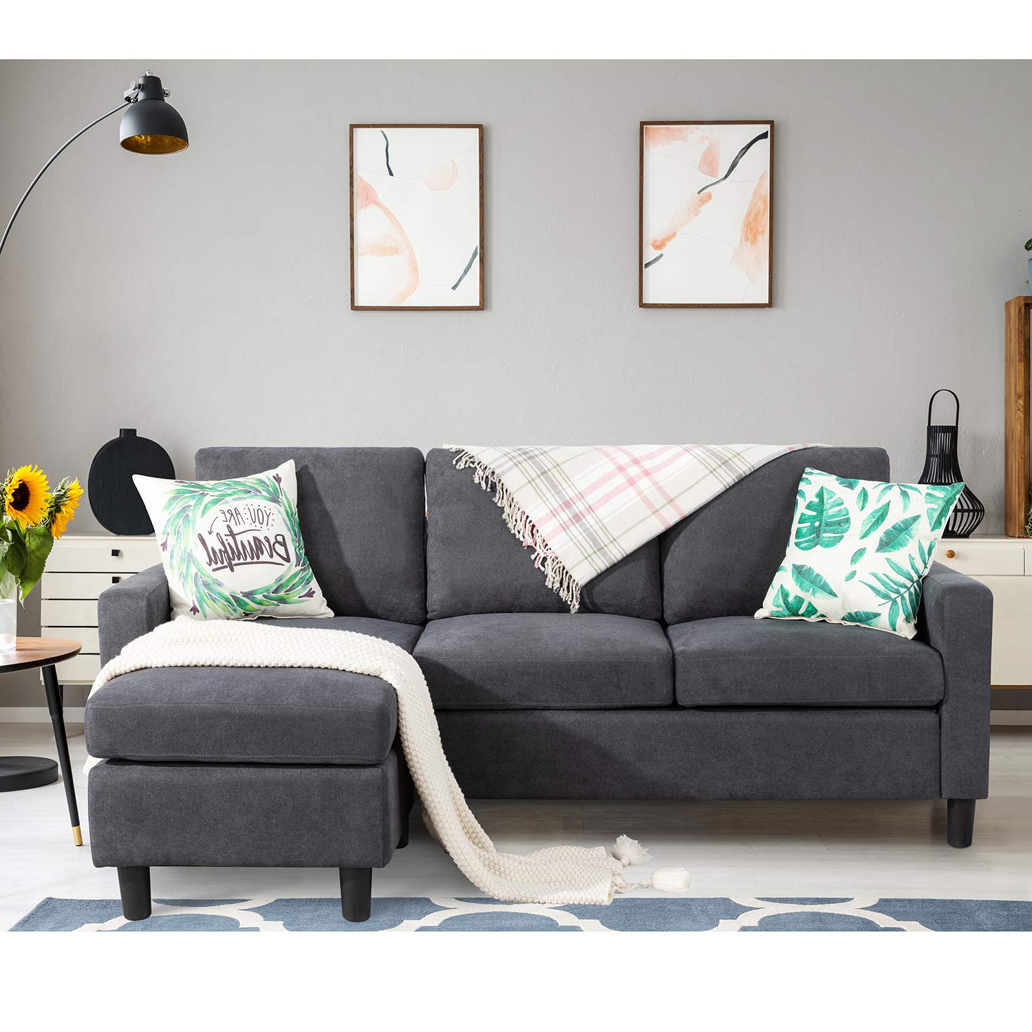 Bowery Hill Steel Gray Linen Reversible/Sectional Sleeper With Regard To Current Palisades Reversible Small Space Sectional Sofas With Storage (View 7 of 25)