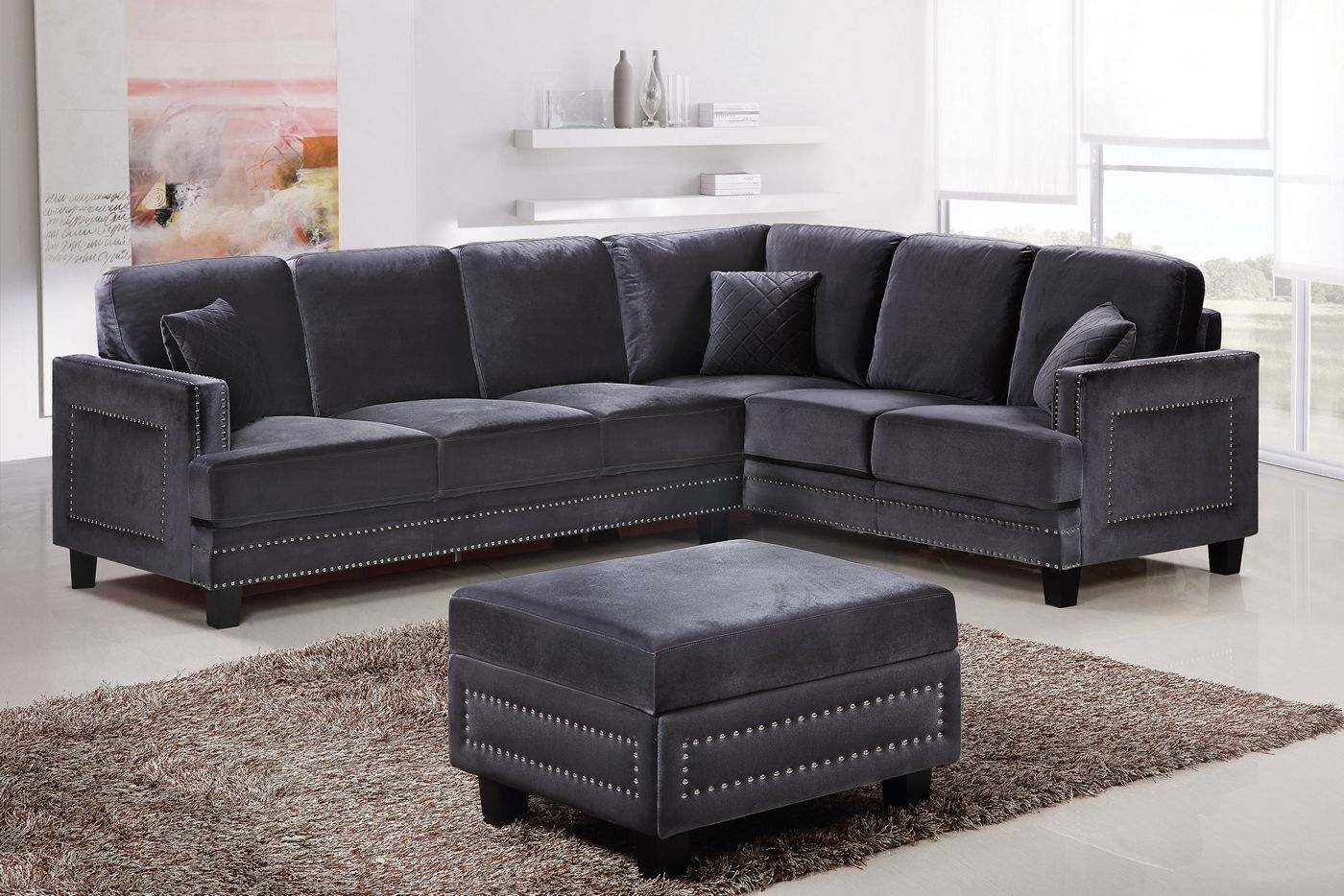 Braylee Modern Grey Velvet Sectional Sofa With Nailhead Trim Regarding Well Known Molnar Upholstered Sectional Sofas Blue/Gray (View 11 of 25)