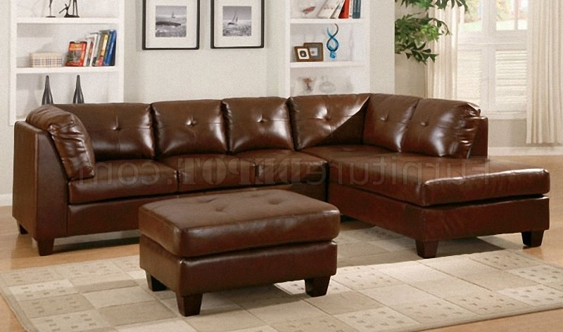 Brown Bonded Leather Modern Sectional Sofa W/Tufted Seats In Widely Used 3Pc Bonded Leather Upholstered Wooden Sectional Sofas Brown (View 3 of 25)
